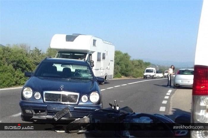 تصادف جورج کلونی با موتورسیکلت